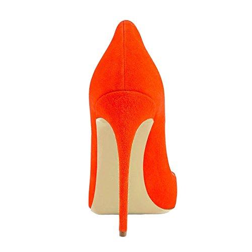 A Donne Donne Zsie Talloni Di Punta Si Brevetto Alti Pollici 4 Punta Arancione camoscio Vestono Le Pompe 7 Scarpe Delle Partito Per Del Vocosi wIzxE6Adqw