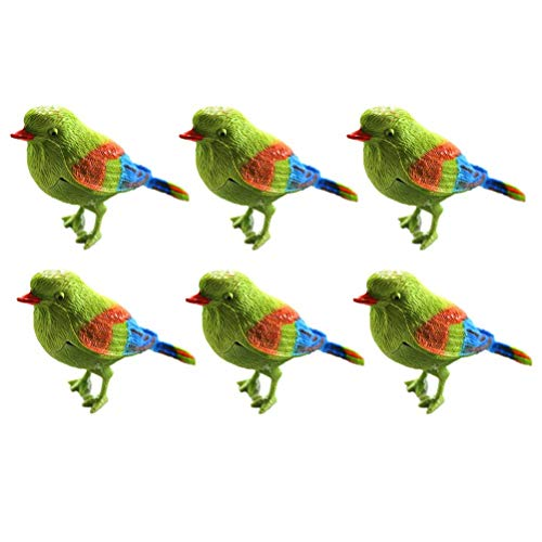 Toyvian Chirping Bird Toys Colorful Bird Sparrow Motion Sensor Real Bird Singing Sounds (6pcs) (Birds Singing Best)