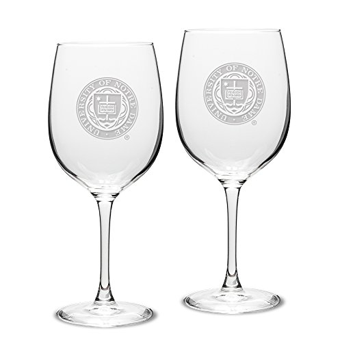 NCAA Notre Dame Fighting Irish Adult Set of 2 - 19 oz Robusto Red Wine Glasses Deep Etch Engraved, One Size, Clear ()