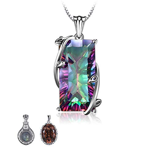 JewelryPalace Huge Gemstones Birthstone Necklace 16ct Natural Rainbow Quartz Statement Necklace For Women 925 Sterling Silver Pendant Necklace 18 Inches Box Chain