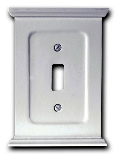 - Amerelle Mantel Single Toggle Wood Wallplate in White