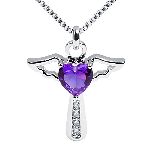 Ckysee Necklaces for Women Girls Cross Cubic Zirconia Angel Wing Birthstone Heart Charm Pendant Necklace February- - February Cross Birthstone