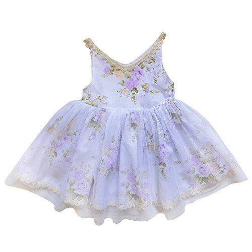 So Sydney Little Girl Tank Top Style Chiffon Lace Princess Dress Flower Sundress (XS (2T), Vintage Floral - Fashion Style Sydney