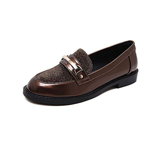 Giy Femmes Classiques Penny Mocassins Boucle Orteil Carré Slip-on Affaires Loafer Robe Casual Oxford Chaussures Marron