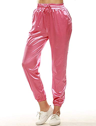 duduxiaomaibu Women's Drawstring Waistband Satin Joggers Casual Sports Sweatpants Pockets(Pink-Medium(fits Like US 6-8)) (Sst Satin)