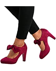 Chellysun Womens Mary Jane Pumps Ankle Strap Buckle Round Toe Mid Heel Bowtie Office Shoes