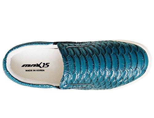 Mnx15 Femmes Ascenseur Chaussures Hauteur Augmentation 2.4 Mangue Bleu Wedge Espadrilles À Talons Hauts Baskets Bleu