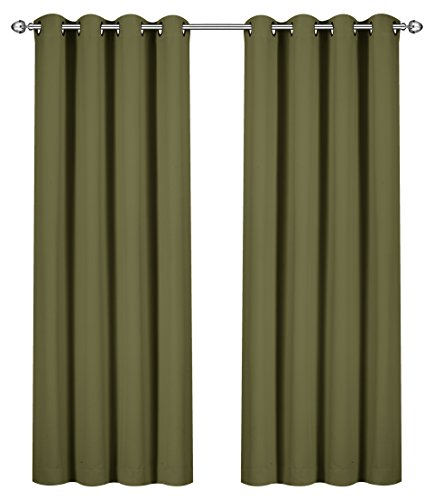 Utopia Bedding Blackout Room Darkening and Thermal Insulating Window Curtains/Panels/Drapes - 2 Panels Set - 8 Grommets per Panel - 2 Tie Backs Included (Olive, 52 x 84 Inches with Grommets) ()