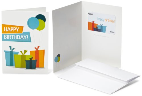 - Amazon.com $200 Gift Card in a Greeting Card (Birthday Presents Design)