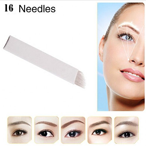 WellieSTR 50pcs Permanent Makeup Manual Eyebrow Tattoo Needles Blade For 3D Embroidery Microblading Tattoo Pen Machine (16 needles)