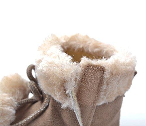 HAPPY CHERRY Suaves Zapatos Calzado de Primeros Pasos Zapatitos sin Cordones Mocasines con Borlas para Bebés Niños Niñas 12 - 18 Meses 13CM Talla EU 21 Color Rojo Brillante Marrón 1