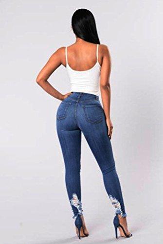 Svuotare Yilianda I Elegante Blu Lunghi Pantaloni Buchi Donna Strappato qrHSwCrx