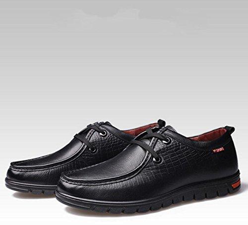 GRRONG Chaussures En Cuir Pour Homme En Cuir De Vache Loisirs Noir Brun Jaune Black R9UxeT