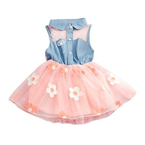 - Kids Girl Sleeveless Button Denim Tops Princess Flower Tulle Tutu Skirts Dresses