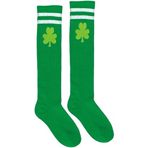 Amscan St. Patrick's Day Shamrock Knee High Green Tube Socks | Party Accessory
