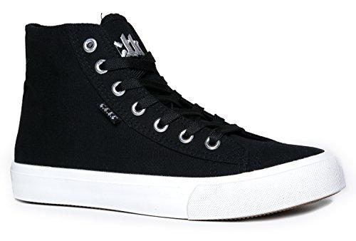 Zapatilla De Deporte Adornada Con Cordones En La Parte Superior Alta De Core-a - Zapato Estrella Metálica De Caminata Casual - Klutch De Black Canvas