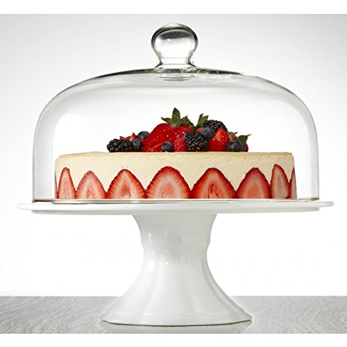 Brilliant - Bianco Extra Large Pedestal Cake Plate and Dome 33cm