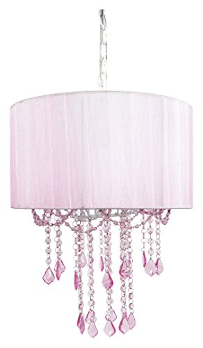 Tadpoles One Bulb Shaded Chandelier, Pink - Match Chandelier Shade