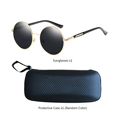 Frames Unisex Fashionable Womens Gold Con Design Sunglasses Polarized for amp;gray Round de gafas Oversized Mirror Zhuhaitf estuche Mens wqIEZdE