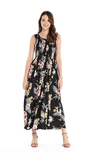 Women's Hawaiian Maxi Tank Elastic Luau Dress in Hibiscus Black
