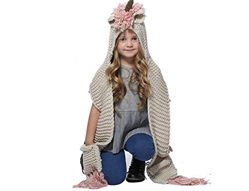 - Plush Unicorn Hood Winter Hat with Scarf Pocket Knitting Scarf and Paw Unisex Kids Teens Cosplay Party Gifts