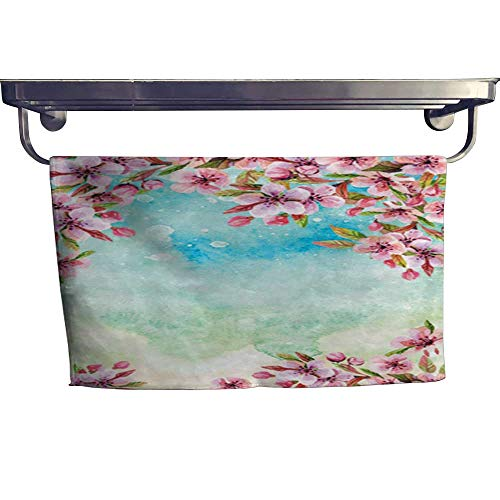 warmfamily Absorbent Towel Watercolor Japanese Cherry Blossoms Towel W 20
