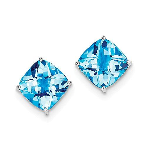 Best Designer Jewelry Sterling Silver Rhodium-plated Blue Topaz Earrings