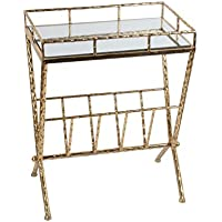 Metal Accent Tables Gold Leaf Finished Metal And Glass Magazine Rack Table 23.5 X 18 X 12 Inches Gold