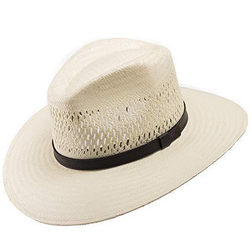 (HAVANA Fedora Vented Panama Outback Straw Hat Ultrafino 7 3/8)