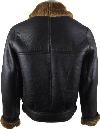 UNICORN Männer Echte Leder Jacke Schafspelz Flieger Mantel diagonal Reißverschluss - Braun und Braun #CH