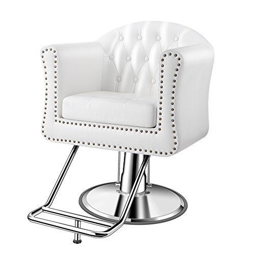 Baasha Luxury Classic White Styling Chair For Hair Salon, All Purpose Square Salon Chair With Hydraulic Pump, Footrest, Hydraulic Salon Chair, Hair Salon Styling Chair Fully Assembled