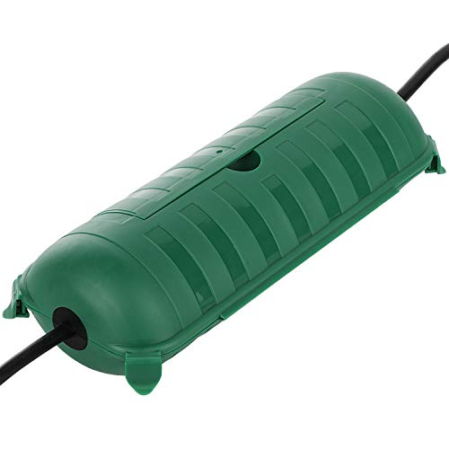 Outdoor IP44 Waterproof Connection Box by Restmo, Weatherproof Electrical Extension Cord Cover, Safety Seal Enclosure to Protect Holiday Decorations, LED Strip Light, Power Tool, Fountain, Green (Cord Outdoor Cover)