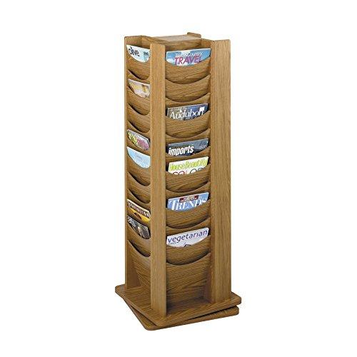 Safco Products 4335MO Solid Wood Rotating Display, 48 Pocket, Medium Oak (Safco Oak Rack Magazine)