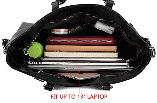 Bolso 3 Negro Trabajo Compra Negro de Cuero Bolso Forma de de Genuino Laptop Hombro Mujer Yaluxe Mano a8wqT7Z