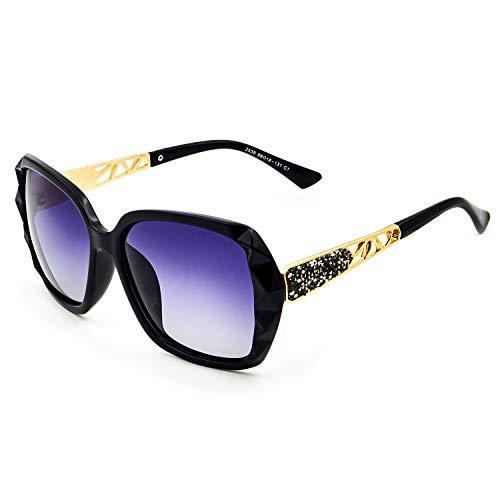 Leckirut Women Shades Classic Oversized Polarized Sunglasses 100% UV Protection Eyewear back frame/gray lens