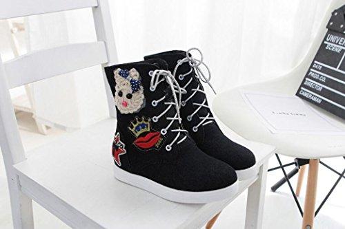 Ei&iLI Femmes d'automne / hiver Fashion bottes toile Casual talon plat noir / bleu / gris , black , 37