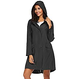 Teewanna Trench Raincoat for Womens Lightweight Hooded Waterproof Active Outdoor Rain Jacket S-XXL