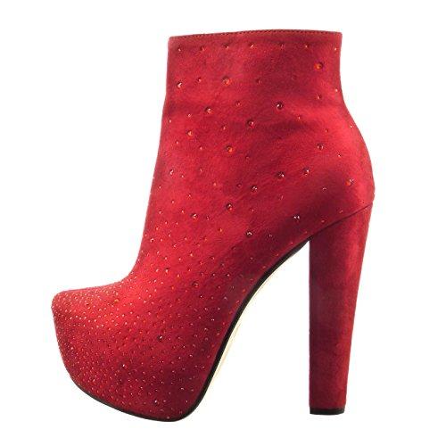 Sopily - Scarpe da Moda Stivaletti - Scarponcini zeppe alla caviglia donna strass Tacco a blocco tacco alto 13 CM - Rosso