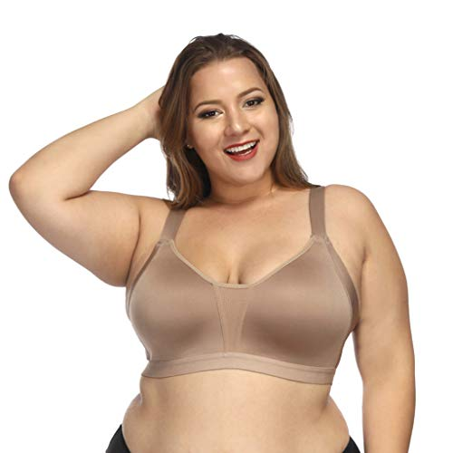 Onegirl Seamless Full Coverage Bra for Women,Padded Gathered Underwear Fitness Sports Bra Lingerie Khaki