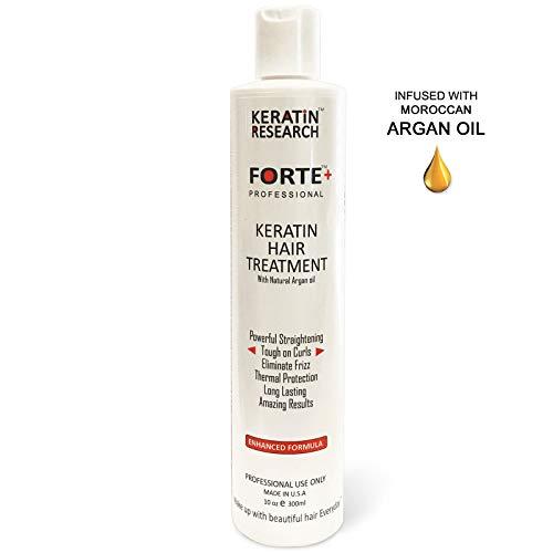 Keratin Forte Keratin Brazilian Keratin Hair Blowout Treatment Extra Strength 300ml with Moroccan Argan oil Enhanced Formula for Curly Hair By Keratin Research Queratina Keratina Brasilera Forte