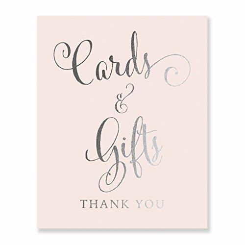 Cards & Gifts Silver Foil Print on Blush Pink Paper Wedding Reception Signage Gift Table Sign Party Decor Calligraphy Newlyweds Modern Metallic Poster 8 inches x 10 inches D35
