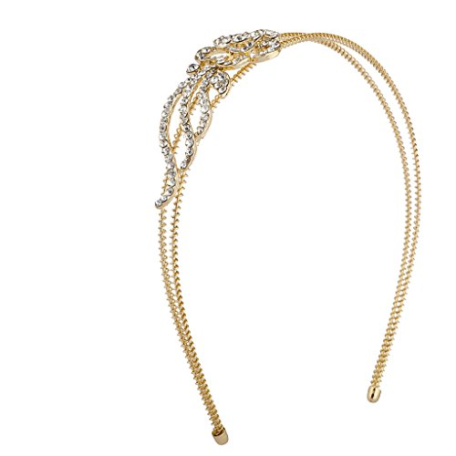 Coil Head Wire - Lux Accessories Gold Tone Crystal Rhinestone Flower Floral 2 Row Coil Headband