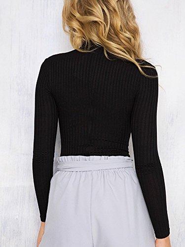 Manga Negro Para Larga Camiseta Clásico Mujer De Básico Wslcn 1EOwpqq