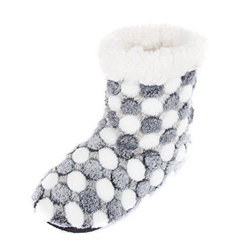 Bootie Slippers Gray Lined Women's Fleece Dots Leisureland qCfwSBtxO