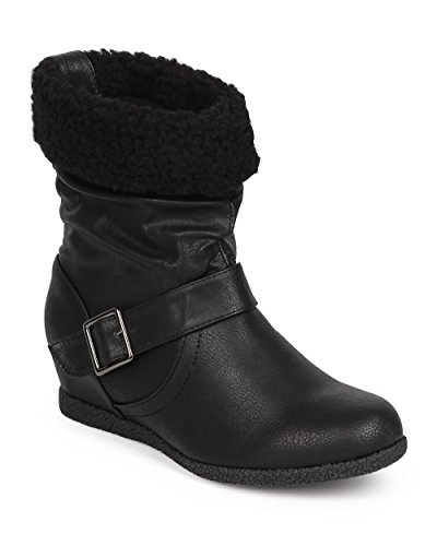 Wild Diva Women Leatherette Shearling Cuff Slouch Snap Wedge Boot DJ99 - Black Leatherette (Size: 7.5)