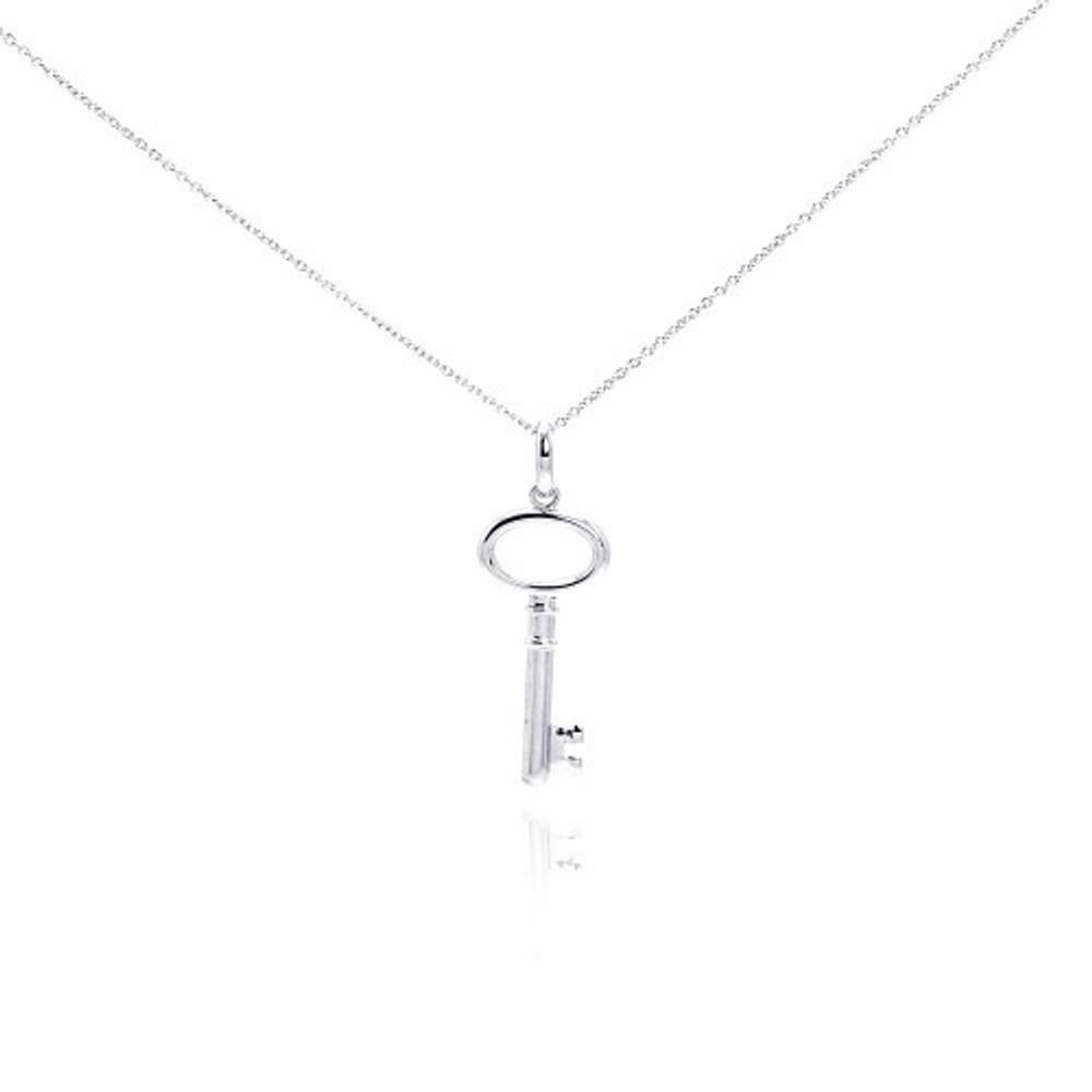 Rhodium Plated Sterling Silver Plain Key Necklace