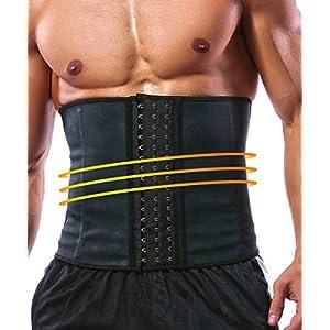GainKee 100% Latex Men Waist Trainer Corsets with Steel Bone Sweat Belt Sauna Suit for Fitness Body Shaper