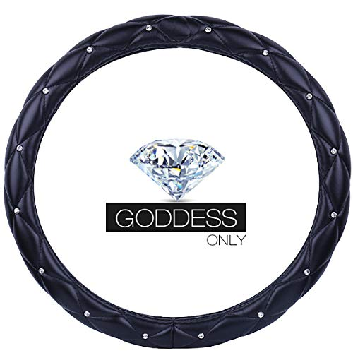 Qimei Goddess's Car Steering Wheel Cover with Bling Diamond + Stylish Lattice Design + Soft Durable Leather Elegant Accessories Universal 15