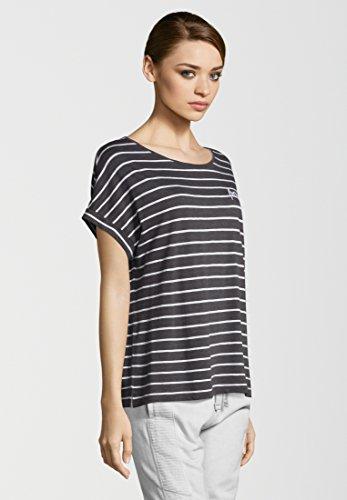 Juvia Damen T-Shirt Slub Stripe Boxy Forever Graphit/ White azkBS