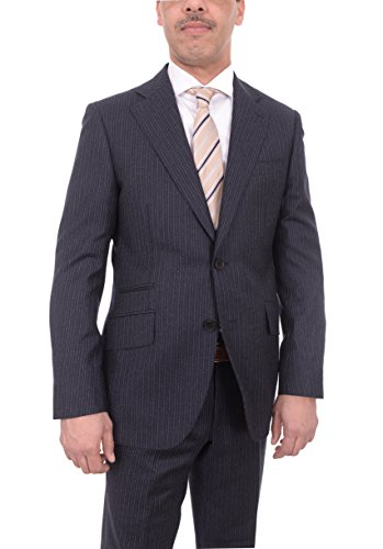 The Suit Depot Mens Napoli Slim Fit Navy Flannel Chalk Stripe Half Canvassed Marzotto Wool Suit
